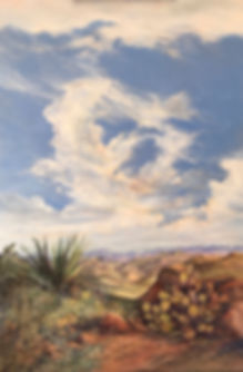 oil painting of towering cumulus over desert canyons by Lindy Cook Severns