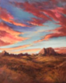 Red sky over golden desert landscape painting Lindy Cook Severns