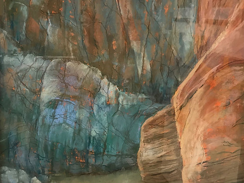 turquoise and coral rock canyon landscape painting by Anne Eckley