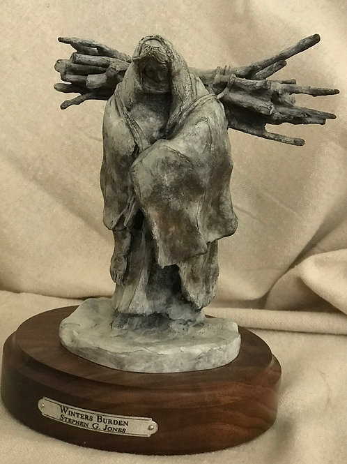 small bronze sculpture of Indian woman carrying firewood by Stephen G Jones