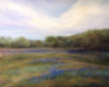 Pasture of Texas bluebonnets and a thunderstorm color this original pastel landscape painting by Texas painter Lindy C Severns