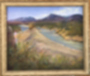 River-Between-the-Lands-20x24-pastel-Lindy Cook Severns framed in gold