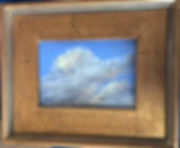 white and gold pastel cloudscape framed in gold, Lindy Cook Severns art