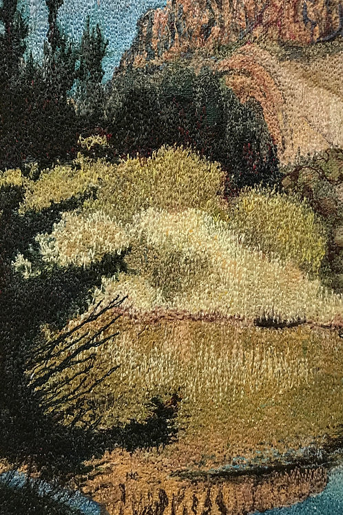 forest and pond landscape thread painting by Anne Eckley