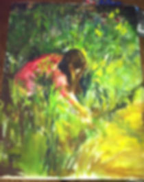 A rare early watercolor by Texas artist Lindy Cook Severns, this miniature of a young girl in a red dress picking wildflowers