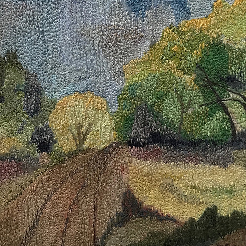 road thru trees thread painting by Anne Eckley