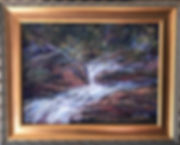 antiqued gold carved wood molding on whitewater pastel painting