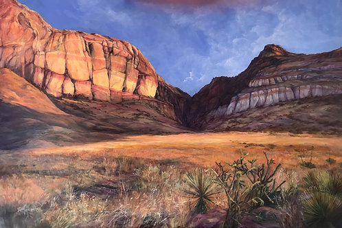 "golden light on a desert canyon dawn, original oil landscape painting by Lindy Cook Severns ""Drenched in Dawn"""