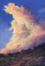 A Texas thunderstorm in miniature booms across this original pastel skyscape by Texas painter Lindy Cook Severns