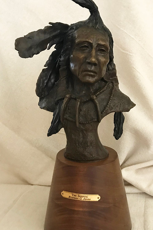 bronze bust of Native American with feathers by Stephen G Jones