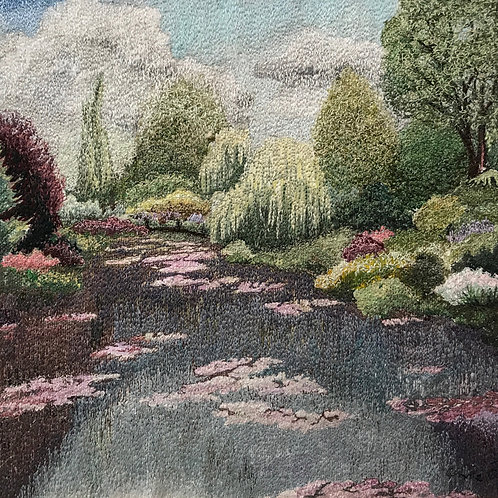 waterlilies and willows thread painting by Anne Eckley