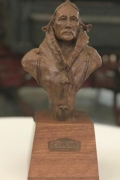 bronze bust of Indian warrior by Stephen G Jones