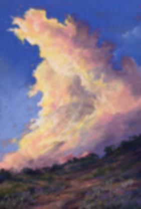 sunset thunderstorm pastel painting