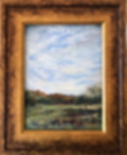 antique gold frame on landscape painting of sky and grass