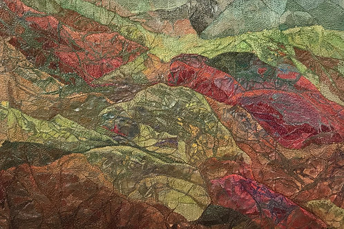 red and green abstract mountains thread painting by Anne Eckley