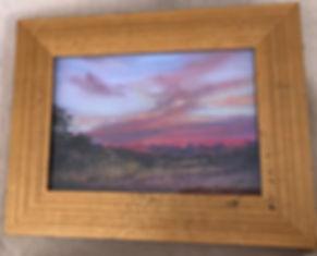 gold framed sunrise pastel landscape painting mitre peak by Lindy Cook Severns art