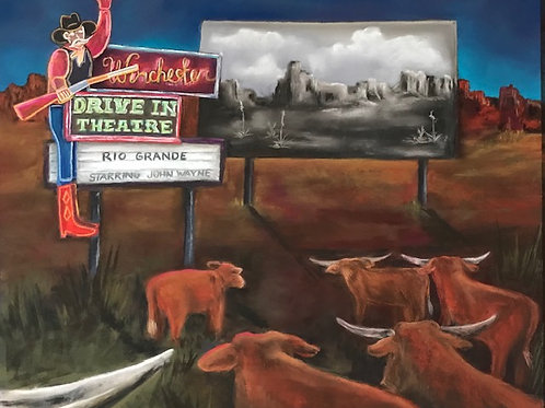 painting drive in theatre cowboy with rifle and cattle
