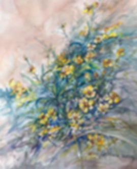 yellow daisy wildflowers watercolor painting by Lindy Cook Severns