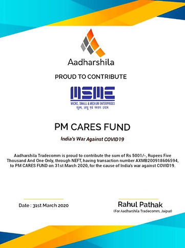 Contribtion by Aadharshila Tradecomm in PM CARES FUND for the War Against COVID19.