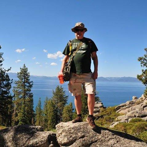 Donald on a rock near Lake Tahoe