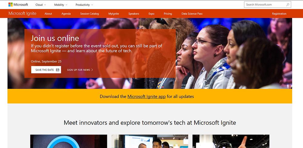 MS Ignite Website