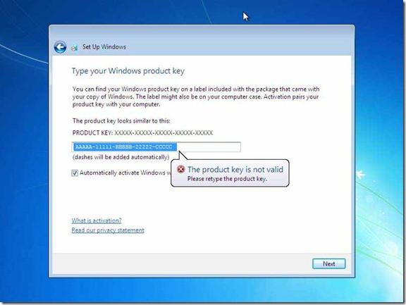 Windows Product Key Window