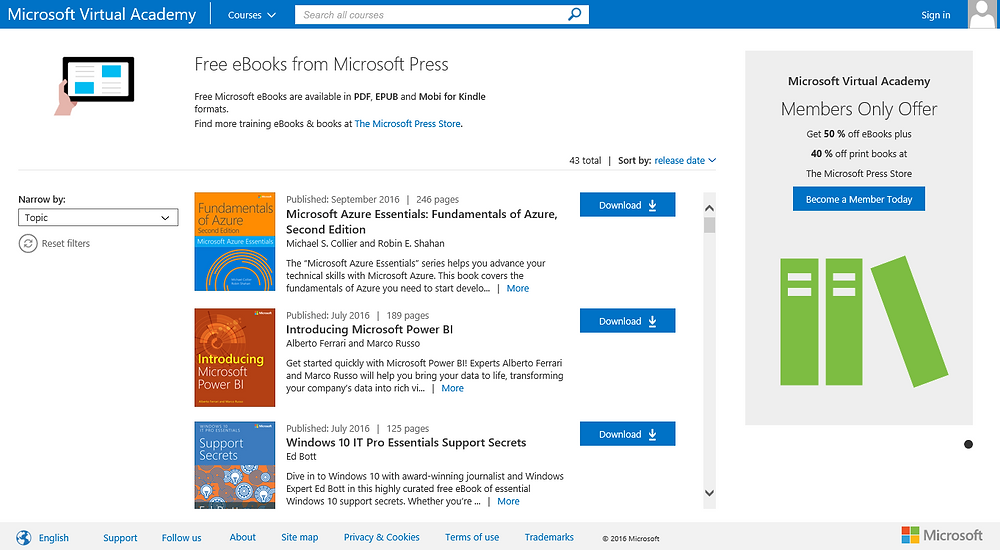 Microsoft Virtual Academy website