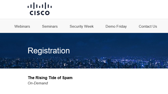 Cisco Registration page
