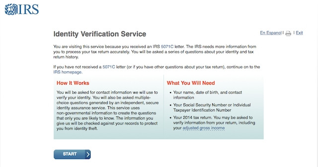 IRS Identity Verification Service