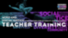 Teacher Training Poster.  Danya flying through the air in SuperHero pose with one arm forward.  Text Reads: SuperHero Circus Academy, Acro and Social Justice Teacher Training.  A foundation for Diversity and Inclusion.