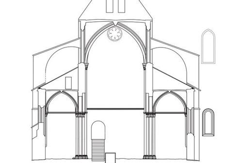Coupe église abbatiale XIIIème
