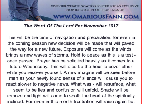 Prophetic Word For November