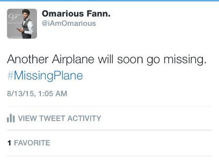 Prophetic Fulfillment: #AnotherMissingPlane