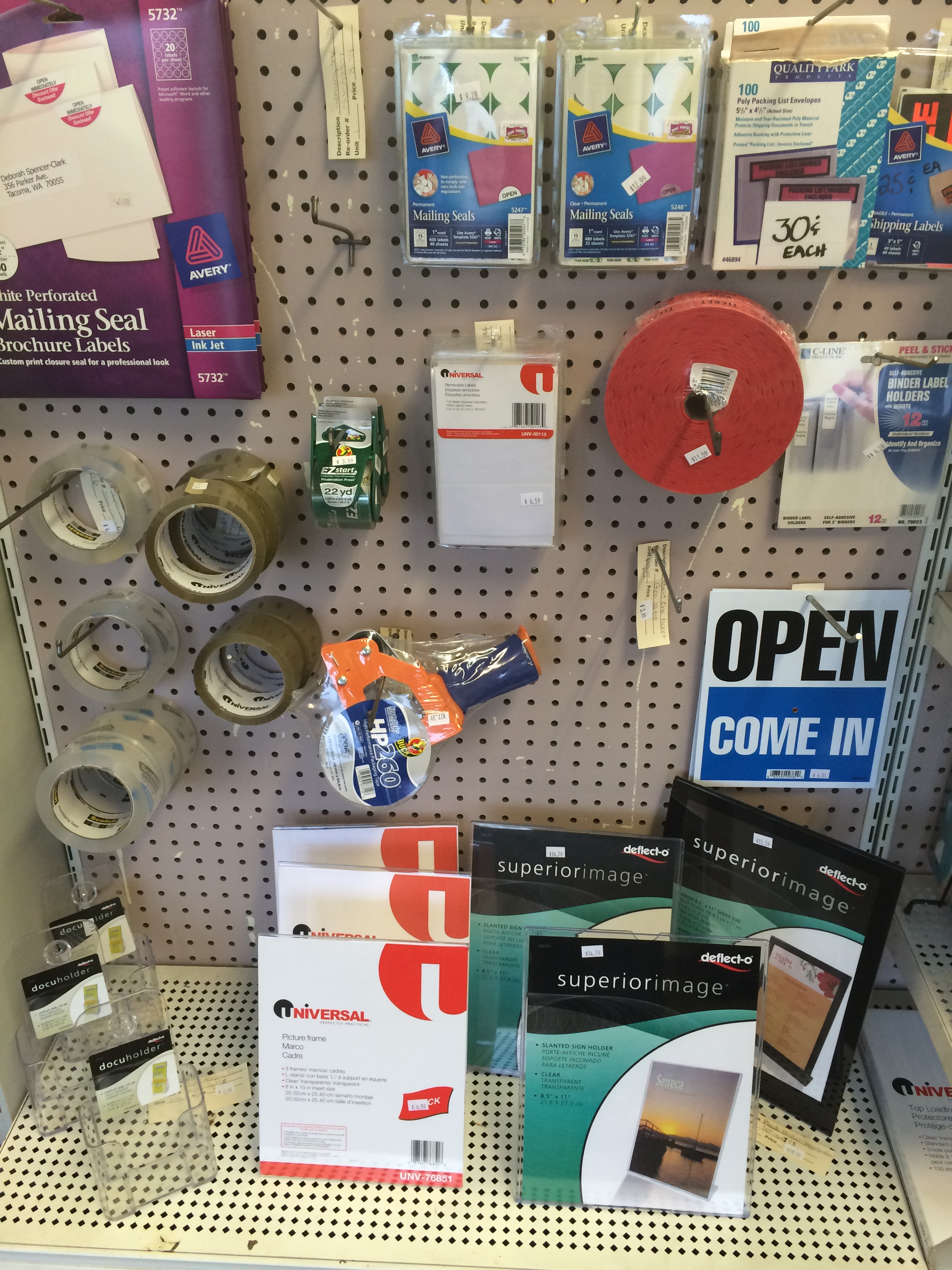 Packing tape & misc office supplies