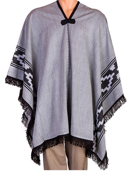 Grey and Black Poncho