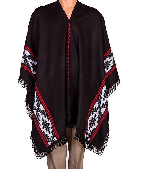 Black, Red and White Poncho