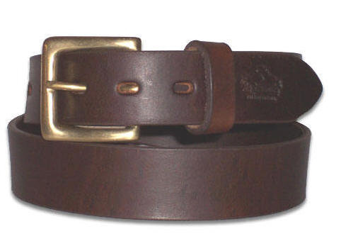 Leather With Bronze Buckle Belt