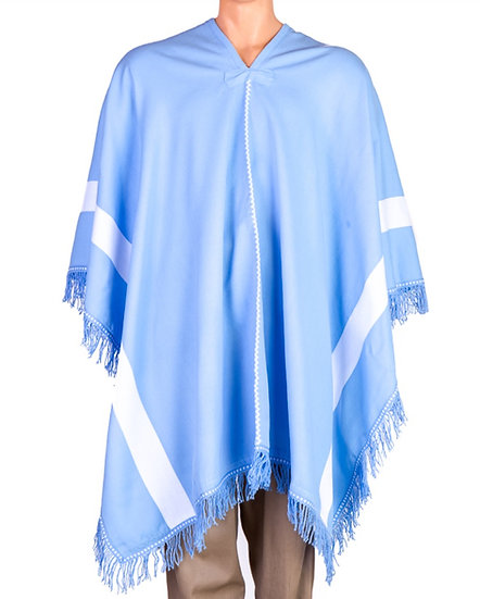 Pale blue and White Poncho