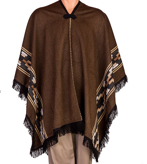Brown and White Poncho