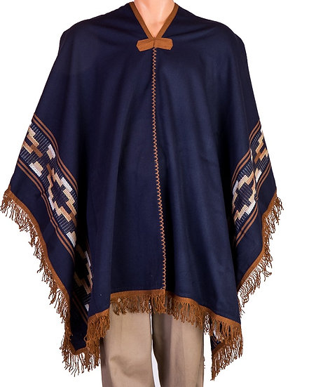 Blue and Ochre Poncho