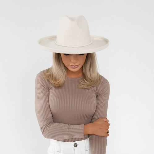 The Cara Loren Pencil Brim Hat- Off White