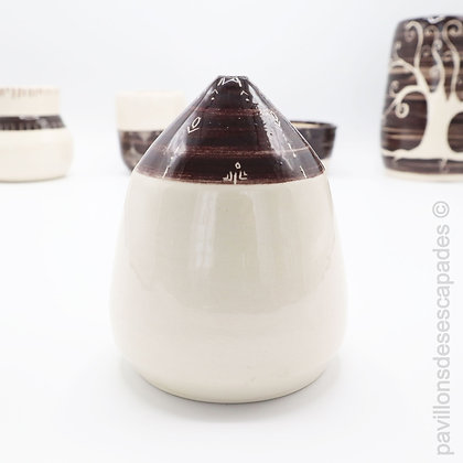 Earthenware soliflore - white and brown