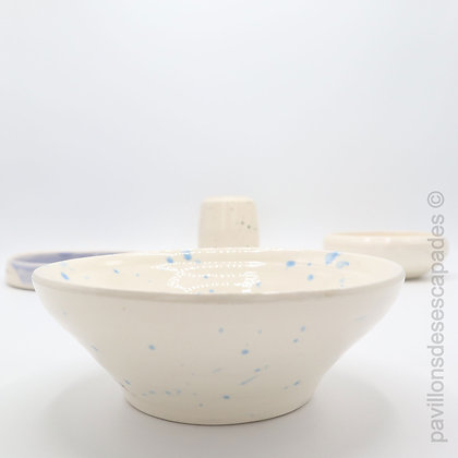 Earthenware dish - white and blue stains