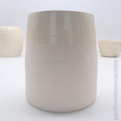 White earthenware vase