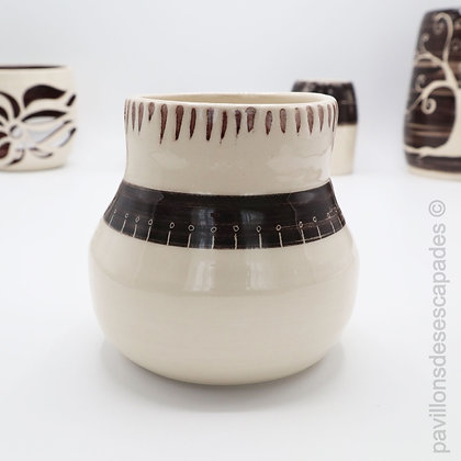 Earthenware vase - white and brown