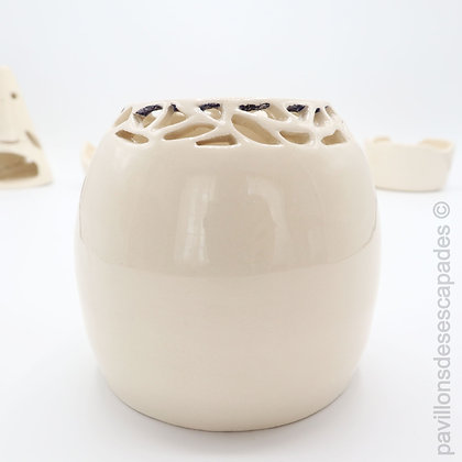 White earthenware pierced pot