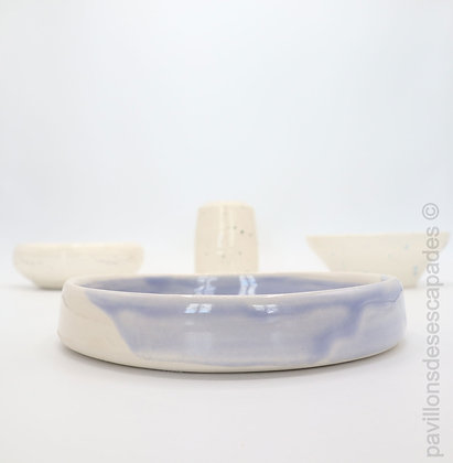 Earthenware dish - white and blue