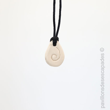 White engraved earthenware pendant