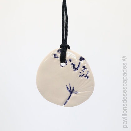 Earthenware pendant with blue flower print