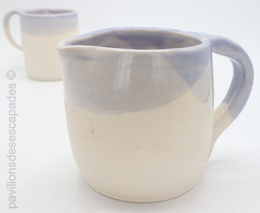 Earthenware jug - white and blue